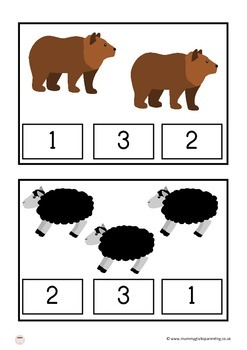 Brown bear count and clip cards