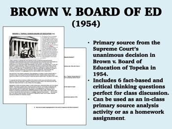 Brown v. Board of Education of Topeka - Civil Rights - USH/APUSH