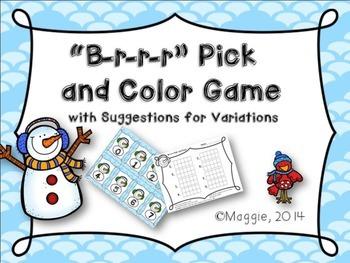 Brrr Pick and Color Math Games and Variations for Kindergarten