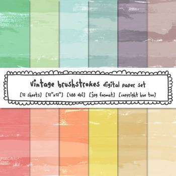 Brushstrokes Digital Paper Set, Pastel Watercolor Texture