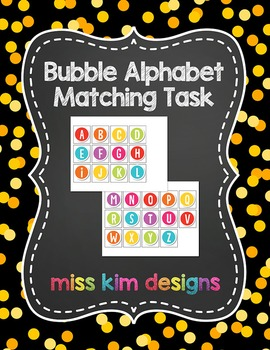 Bubble Alphabet Matching Folder Game for students with Autism