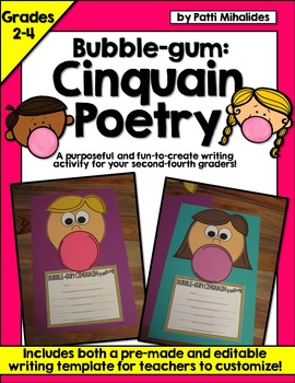 Bubble-Gum Cinquain Poetry! A craftivity for second throug
