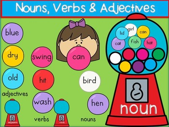 Bubble Gum Nouns, Verbs, & Adjectives