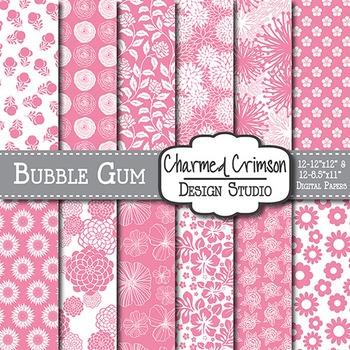 Bubble Gum Pink Floral Digital Paper 1476