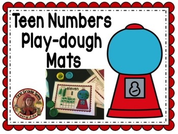 Bubble Gum Teen Numbers Play Dough Mats with cut and paste