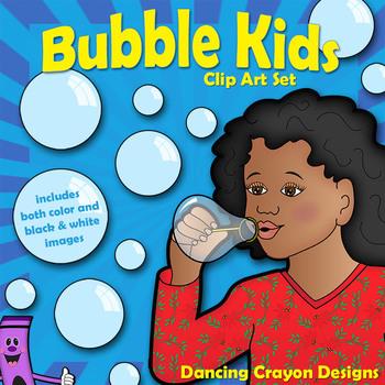 Bubble Kids Clip Art: Children Blowing Bubbles