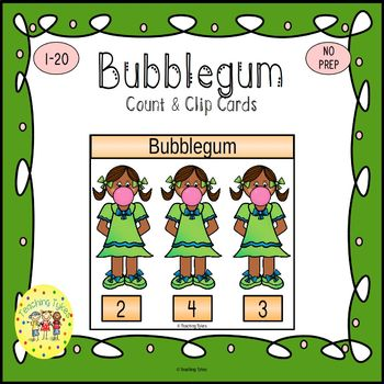 Bubblegum Count and Clip Task Cards