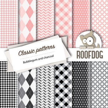 Bubblegum and charcoal classic patterns—argyle, houndstoot