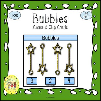 Bubbles Count and Clip Task Cards