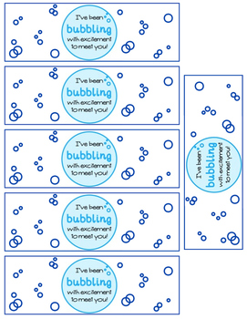 Bubbling To Meet You (bubble labels- first day of school gift)