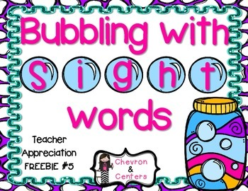 Bubbling with Sight Words-Teacher Appreciation FREEBIE #5