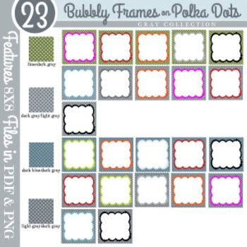 Bubbly Frames on Polka Dots GRAY COLLECTION