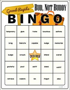 Bud Not Buddy Vocabulary Bingo