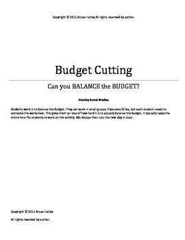 Budget Cutting Activity