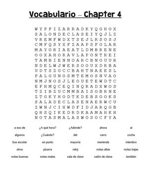 Buen Viaje 1 Chapter 4 Vocabulary WORD SEARCH