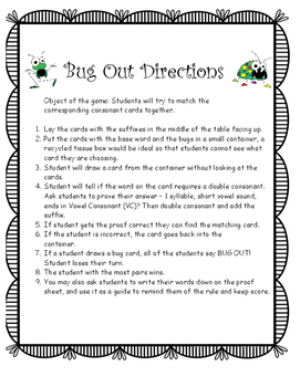 Bug Out Double Consonant Game