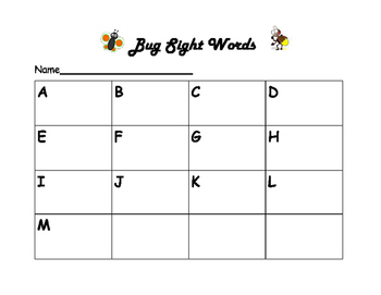 Bug Sight Words