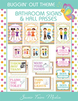 Bug Themed Bathroom Signs, Restroom Hall Passes - Cleanlin