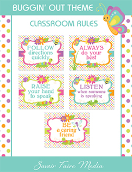 Bug Themed Classroom Rules - Stripes and Dots