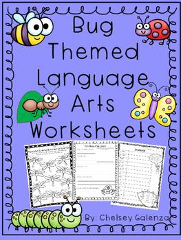 Bug Themed Language Arts Worksheets- Vocabulary, Grammar &