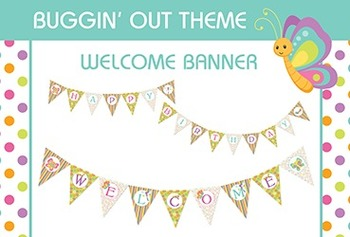 Bug Themed Welcome and Happy Birthday Classroom Pennant Ba