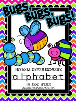 Bugs, Bugs, Bugs! Alphabet **Punch Bowl Chevron Background**