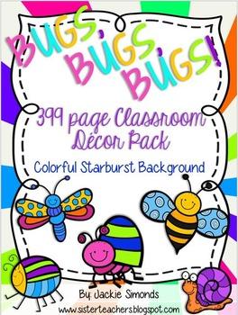 Bugs, Bugs, Bugs! Mega Decor Pack **Colorful Starburst Bac