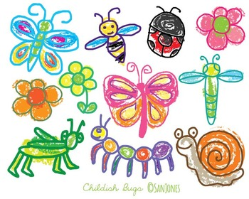 Bugs Clip Art - Colorful Insects Flowers -San Jones Hand d