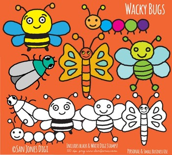 Bugs Clip Art - Hand drawn Insects Clip art - Digi Stamps