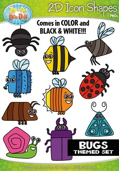 Bugs / Insects Themed 2D Icon Shapes Clipart Set — Include