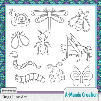 Bugs Line Art and Digital Stamps