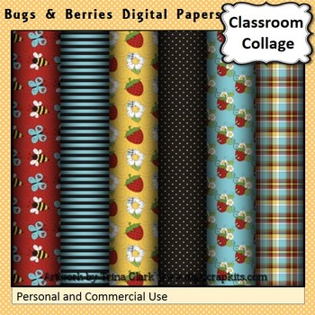 Bugs and Berries Digital Papers Set Color  personal & comm
