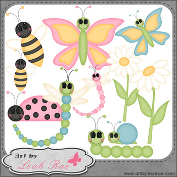 Bugs and Blooms 1 - Art by Leah Rae Clip Art & Line Art /