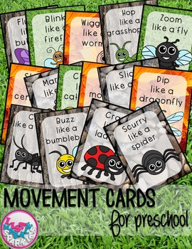 Bugs and Insects Movement Cards for Preschool