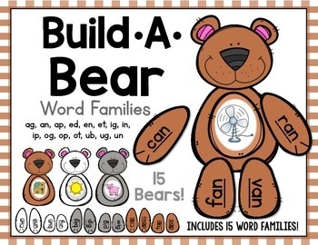 Build A Bear Word Families - Also great for Rhyming and CV