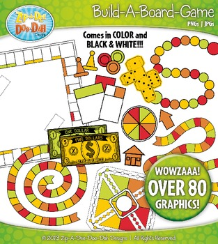 Build A Board Game Clipart Set 6 — Over 80 Colorful Graphics