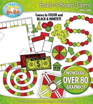 Build A Board Game Clipart Set 8 — Over 80 Colorful Graphics