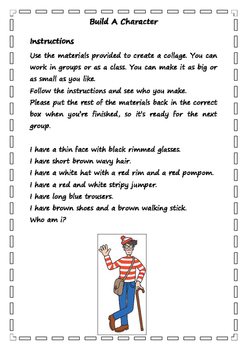 Build A Character - Book Week Activity