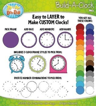 Build A Clock Clip Art Set — Over 120 Rainbow Graphics!
