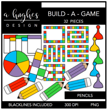 Build-A-Game Pencils {Graphics for Commercial Use}