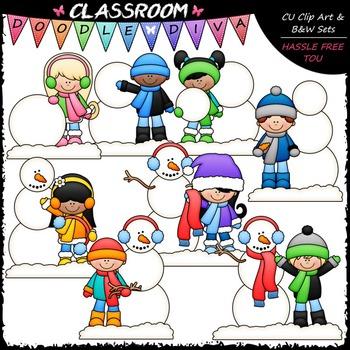 Build A Snowman Kids Clip Art - Sequencing Clip Art