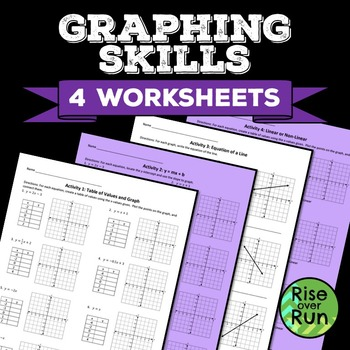 Graphing Skills, 4 Worksheets or Homework