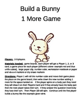 Build a Bunny 1 More/Less, 10 More/Less, 100 More/Less Game