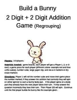 Build a Bunny 2 Digit Addition with Regrouping Game