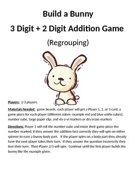 Build a Bunny 3 + 2 Digit Addition Regrouping Game