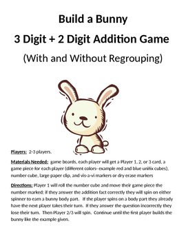 Build a Bunny 3 + 2 Digit Addition With and Without Regrou