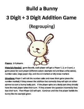 Build a Bunny 3 Digit + 3 Digit Addition Regrouping Game