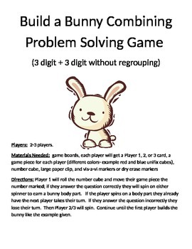 Build a Bunny Combining Word Problems (3 digit + 3 digit w
