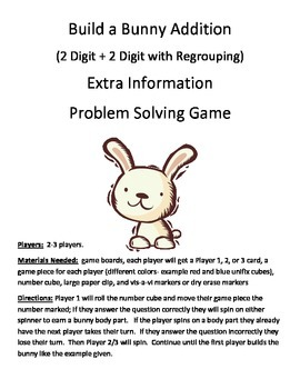 Build a Bunny Extra Information Word Problems 2 Digit + 2