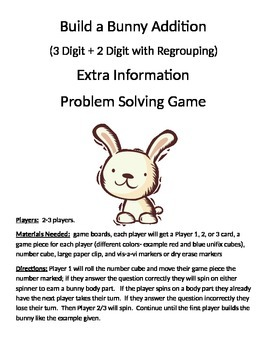Build a Bunny Extra Information Word Problems (3 digit + 2